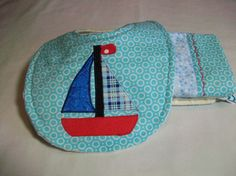 Baby Boy Bib and Burp Cloth Set  Sailboat Baby by PeaPodLilFrogs, $25.00