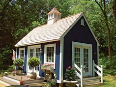 Tiny house with cupola and french doors. I love the tiny house in this picture. Tiny house with cupola and french doors. I love the tiny house in this picture. Small Cottages, Cabins And Cottages, Small Cottage Homes, Small Cabins, Little Cottages, Log Cabins, Cozy Cottage, Cottage Style, Cottage Farmhouse