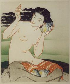 The Echoing Shore ~ woodblock ~ 1931 ~ John Edgar Platt (English painter, woodcut artist and designer of stained glass, Vintage Mermaid, Mermaid Art, Art Nouveau Pintura, Illustrations, Illustration Art, Art Magique, Art Asiatique, Samurai, Mermaids And Mermen