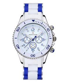 Loving this Blue & Silver Amber White Bracelet Watch on #zulily! #zulilyfinds