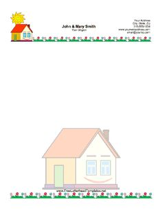 A smiling house and sunshine are displayed on this printable letterhead, which also shows a yard with flowers. Free to download and print