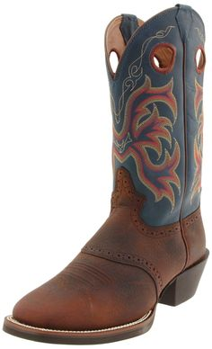 Justin Men S Silver Saddle Vamp Cowboy Boot Square Toe
