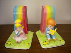 1982 Joan Walsh Anglund Bookends GIRL BOY Reading by EastAvenue32, $50.00