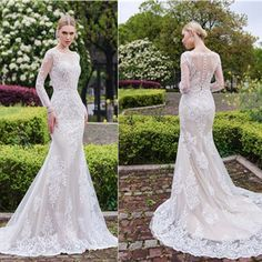Gorgeous Scoop Mermaid White Lace Wedding Dress, long sleeve wedding gown with back detail ,WD0153