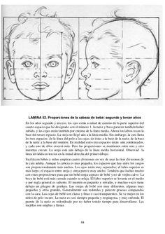 84 LAMINA 52. Proporciones de la cabeza de bebé: segundo y tercer años En los años segundo y tercero, los ojos están a mit...