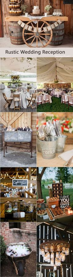 Rustic country wedding reception decor ideas / http://www.deerpearlflowers.com/rustic-wedding-details-and-ideas/4/