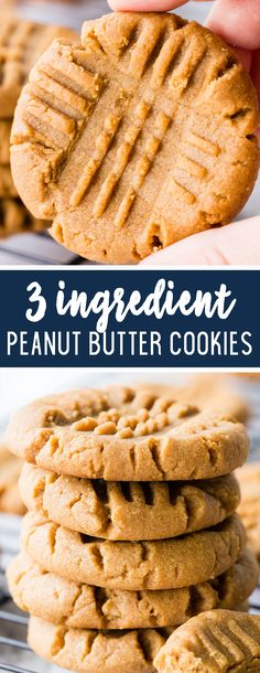 3 Ingredient Peanut Butter Cookies - Easy Peasy Meals - - With only three ingredients these cookies can be whipped up in a snap. Delicious, quick, and easy these cookies are the whole cookie package. Chewy Peanut Butter Cookies, Peanut Butter Recipes, Keto Cookies, Cookies Soft, Peanut Butter Cookie Recipe 3 Ingredient, Vegan 3 Ingredient Cookies, Chip Cookies, Simple Cookie Recipe, Healthy Recipes