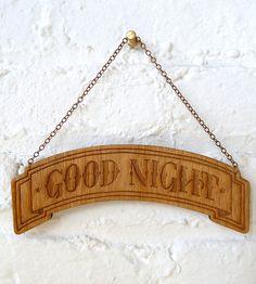 Good Night Wood Banner