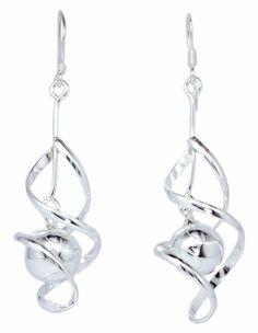 10mm Beads Ball Drop in Oval Twist 925 Sterling Silver Dangle Earrings [ISE0040] #BKGjewelry #DropDangle