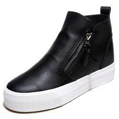 2017 PU leather high increasing heels women's shoe thick bottom platform zipper woman casual shoes outdoor footwear