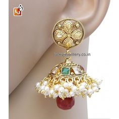 Planning to refresh your #jewelry collection this monsoon season. Try this beautiful Maroon Green Golden Polished Designer Jhumki #Earring. Order it now online from Lucky jewellery  at Rs. 965/- This #monsoon season look stunning with this elegant earring. #fashion #style #ethnic #wedding http://ift.tt/2ar8j6x
