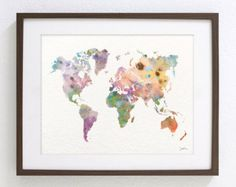 Colorful Map Painting - World Map - Art Watercolor Print - 8x10 Archival Print - Pastel, Whimsical, World Map Wall Art Home Decor
