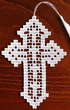 White Lacy Crocheted Cross Bookmark Wall Hanging By