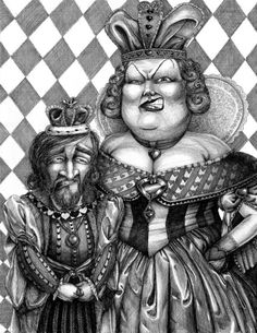 King and Queen of Hearts, ORIGINAL pen and ink drawing,  18 x 24 inches (Alice in Wonderland)