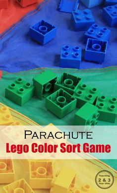 Active Color Sorting Game For Preschoolers Using A Parachute And Legos Great Group Or Individual