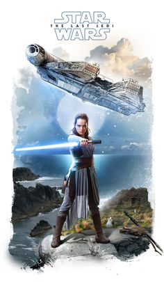 This is probably my favorite piece that I was lucky enough to create for the Star Wars: The Last Jedi movie coming out this December. It's hard to convey action with a static image, but sometimes non-action poses are powerful in their own way. To me, this pose portrays Rey with a newfound, unwavering sense of confidence and power. She may have led a solitary life as a scavenger on the desert planet Jakku, but now that she's found long-lost Jedi master Luke Skywalker, she seems at one...
