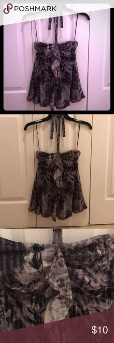 Halter party top with sparkles Halter party top with sparkles in a black/grey/silver strip sparkle design; built in liner Express Tops Tank Tops