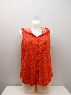 PLUS SIZE 3X Womens Hooded Button Down Shirt EYE CANDY Red Sleeveless 1 Pocket #EyeCandy #ButtonDownShirt #Casual
