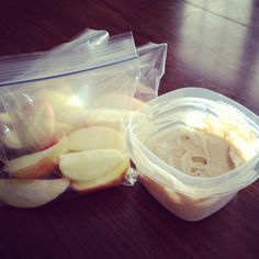 Peanut Butter Yogurt Dip | 5.3 ounce package of vanilla Greek yogurt, 2 tbsp peanut butter, 1 tbsp honey and a dash of cinnamon. Stir it up and dip apples, bananas, or Ritz crackers.