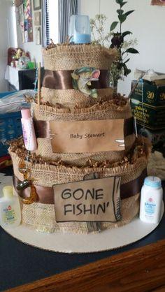 Fishing theme diaper cake