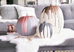 Modern Metallic Painted Pumpkins   Breathtaking Painted Pumpkins You Can Make Yourself This Halloween