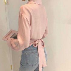 look Long sleeve wrap blouse / crop wrap tops / artist tunic / romantic crop top / Button down loose blouse / Modern chic blouse Wrap Blouse, Blouse Dress, Floral Maxi Dress, Dress Pants, Kimono Fashion, New Fashion, Korean Fashion, Fashion Outfits, Girl Outfits