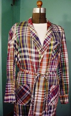 Men's 50 60's Vintage Robe JC Penneys Towncraft Madras Plaid Cotton Med 38 44 | eBay  Had to have something in madras!