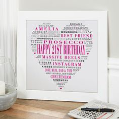 21st Birthday Gift for Her of Typographic Love Heart (magenta noir colour option). Beautiful Personalised Word Art Gifts to Commemorate a Landmark Birthday. Easy to Create, Preview on Screen Before You Buy & Fast Free Delivery. Create Now…