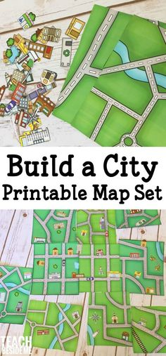 a City Map - Printable Geography Set build a city map- printable geography set for kids! A fun way to learn about mapping and your neighborhood.build a city map- printable geography set for kids! A fun way to learn about mapping and your neighborhood. Geography Activities, Preschool Activities, Geography Map, Teaching Geography, Geography For Kids, Printable Activities For Kids, Teaching Maps, English Activities For Kids, Community Activities