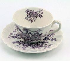 Charlotte Lavender Royal Staffordshire China England Flat Tea Cup & Saucer Set #CharlotteRoyalCrownfordStaffordshire