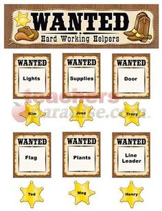 """Teacher Created Resources Wanted: Western Helpers Mini Bulletin Board, Brown with Yellow Carry out a Western theme as you track students who are """"wanted"""" for specific classroom jobs or reward studens who are """"wanted"""" for displaying positive behavior. Western Bulletin Boards, Back To School Bulletin Boards, Classroom Jobs, Classroom Displays, Classroom Decor, Disney Classroom, Classroom Supplies, Classroom Resources, Classroom Management"""