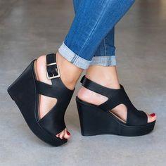 35b13b472ece Women Wedge Adjustable Buckle Sandals Peep Toe Shoes Peep Toe Shoes