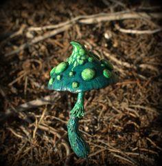 Green  fairy garden fantasy mushroom  ,polymer clay toadstool Home decor,Fairy Garden