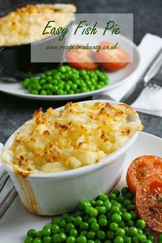 Fish pie doesn't get much easier than this Easy Fish Pie. Cod and smoked haddock in a simple sauce topped with fluffy mashed potatoes. Fish Dishes, Seafood Dishes, Fish And Seafood, Seafood Recipes, Shellfish Recipes, Pie Recipes, Cooking Recipes, Healthy Recipes, Cooking Fish