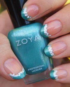 Zoya Nail Polish in Zuza tips with Trixie dots!
