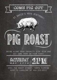 Pig Roast Party Invitation birthday house by YellowLilyDesigns
