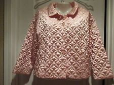 Vintage Quilted Satin Pink Bed Jacket Oscar de la Renta Robe Boudoir Jacket Sz M