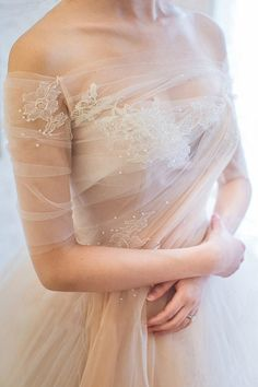 peach tulle, off the shoulder wedding dress