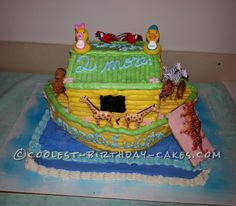 Coolest Noah's Ark Baby Shower Cake... This website is the Pinterest of birthday cake ideas