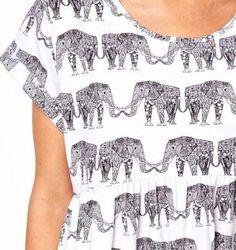 Elephant Print Top