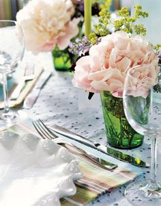 Pretty Peonies : A pale blue eyelet tablecloth creates a breezy backdrop for scallop-edged plates and pink peonies in green tumblers.