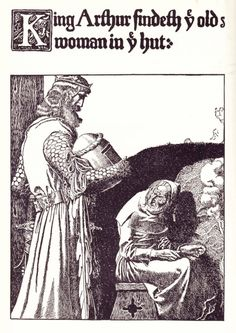 King Arthur findeth ye old Woman in ye hut, illustration from 'The Story of King Arthur and his Knights', 1903 Wall Art & Canvas Prints by Howard Pyle King Arthur Legend, Legend Of King, Robert Louis Stevenson, The Lady Of Shalott, Howard Pyle, Roi Arthur, Green Knight, Knight In Shining Armor, Arthur Rackham