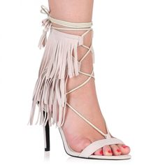 Holly Fringed Stilettos in Nude Faux Suede