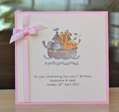 Christening card for twin girls (SU stamp)—so cute!