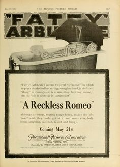"""'A Reckless Romeo', with Roscoe """"Fatty"""" Arbuckle. An unfortunate title. Roscoe Arbuckle, Harold Lloyd, Bob Hope, Moving Pictures, Silent Film, Screenwriting, Comedians, Comedy, Actors"""