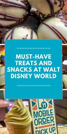 Best known for their wonderful attractions and beautiful lands, there are also some delicious must-have treats and snacks at Walt Disney World. Here are some of the best must-have treats and snacks at Walt Disney World. Ski Vacation, European Vacation, Vacation Ideas, Disney World Tips And Tricks, Disney Tips, World Mobile, Walt Disney World Vacations, Disney Cruise Line, Amazing Adventures