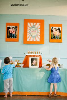 Ice Cream Birthday Party . Joint birthday party for two brothers. Color Scheme: Yellow Blue Orange . Tablescape, table set up, table layout