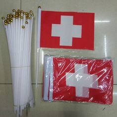 10pcs/pack Promotion Wholesale Small Switzerland Hand Waving National Flag 14*21cm #8 Polyester Swiss Flag