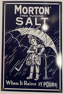 Reproduction Porcelain Morton Salt Sign in Nice Shape Vintage Kitchen Decoration | eBay
