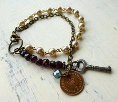 Rustic Romantic Assemblage Bracelet with Garnet. by VintageMusings, $42.00